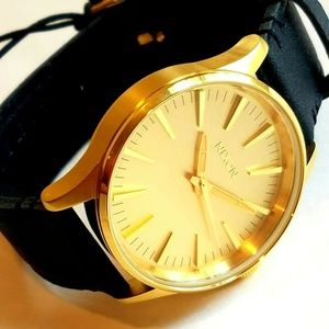 Nixon Sentry 38 Yellow Gold Plated Watch New